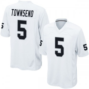 Youth Oakland Raiders Johnny Townsend White Game Jersey By Nike